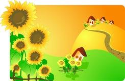 Landelijk landschap met zonnebloemen Stock Illustratie