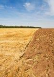 Landelijk landschap na oogsttijd Stock Afbeelding