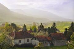 Landelijk landschap onder de regen Royalty-vrije Stock Foto's