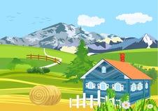 Landelijk landschap, plattelandsscène, groene meadowa royalty-vrije illustratie