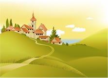 Landelijk landschap wiyh weinig stad stock illustratie