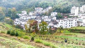 Landelijk landschap in wuyuan provincie, jiangxiprovincie, China stock foto