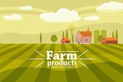 Landelijk leuk landschap met landbouwbedrijf Beeldverhaalstijl, geïsoleerde vector, vector illustratie