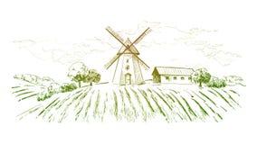 Landelijk Nederlands landschap met windmolen en tarwegebied Reeks van traditionele windmolen Bakkerijwinkel, organische landbouw vector illustratie
