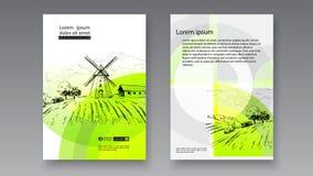 Landelijk Nederlands landschap met windmolen en tarwegebied Reeks van traditionele windmolen Bakkerijwinkel, organische landbouw stock illustratie