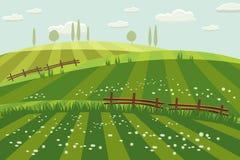 Landelijk plattelandslandschap, de lente, groene weiden, gebieden, wildflowers, heuvels, bomen op de horizon, omheining, vector royalty-vrije illustratie