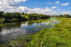 Landelijk rivierlandschap Stock Foto