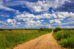 Landelijke de zomer, landweg Royalty-vrije Stock Foto's