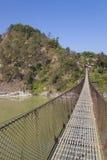 Landelijke Hangbrug, Nepal Stock Afbeeldingen