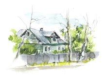 Landelijke huizen dorp Waterverfhand getrokken illustraties stock fotografie