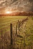 Landelijke landbouwgrondomheining Stock Foto's