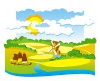 Landelijke mening met windmolen Stock Foto