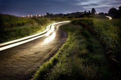 Landelijke nachtweg Royalty-vrije Stock Afbeeldingen