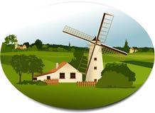 Landelijke scène met windmolen Stock Foto's