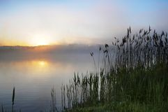 Landelijke scène op zonsondergang Royalty-vrije Stock Foto