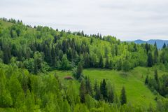 Landelijke schuur in hout op een heuvel royalty-vrije stock fotografie
