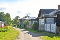 Landelijke straat, Vologda-gebied Stock Afbeeldingen