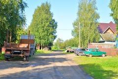 Landelijke straat, Vologda-gebied Royalty-vrije Stock Afbeeldingen
