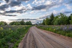Landelijke weg in de zomer royalty-vrije stock afbeeldingen
