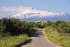 Landelijke Weg en Vulkaan Etna royalty-vrije stock afbeelding