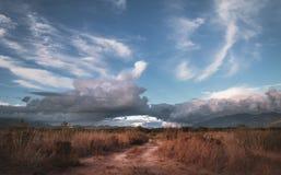 Landelijke weg in het gras in Kalkan Patara stock afbeelding