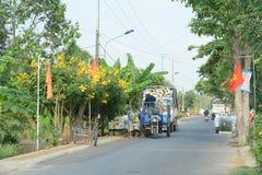 Landelijke weg in zuidelijk Vietnam royalty-vrije stock fotografie