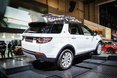 Landen Sie Rover Discovery-Auto, Autoausstellung Geneve 2015 Stockfotos