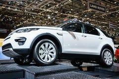 Landen Sie Rover Discovery-Auto, Autoausstellung Geneve 2015 Stockfotografie