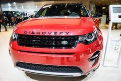Landen Sie Rover Discovery-Auto, Autoausstellung Geneve 2015 Lizenzfreie Stockfotografie