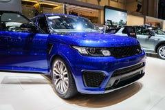 Landen Sie Rover Discovery-Auto, Autoausstellung Genf 2015 Stockbilder