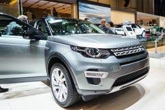 Landen Sie Rover Discovery-Auto, Autoausstellung Genf 2015 Lizenzfreie Stockfotos