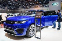 Landen Sie Rover Discovery-Auto, Autoausstellung Genf 2015 Lizenzfreie Stockfotografie