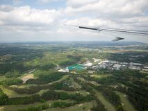 Landend bij Narita Luchthaven, Tokyo, Japan royalty-vrije stock foto