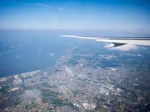 Landend bij Narita Luchthaven, Tokyo, Japan royalty-vrije stock afbeelding