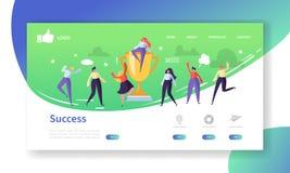 Landend de Paginamalplaatje van de websiteontwikkeling Mobiele Toepassingslay-out met Vlakke Mensen met Gouden Prijs Bedrijfssucc vector illustratie