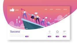Landend de Paginamalplaatje van de websiteontwikkeling Mobiele Toepassingslay-out met Vlakke Zakenman Leader op de Bovenkant met  stock illustratie