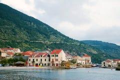 Landend stadium in Adriatic, marine, zeegezicht Het reizen, zeilen stock afbeelding