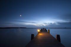 Landend stadium bij zonsondergang Stock Afbeelding