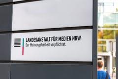 Landesanstalt für medien nrw sign in dusseldorf germany. Dusseldorf, North Rhine-Westphalia/germany - 12 10 18: landesanstalt für medien nrw sign in royalty free stock images