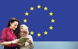 Landesflagge-Nationalitäts-Kultur Liberty Concept der Europäischen Gemeinschaft Stockfoto