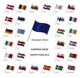 Landesflaggen 2014 der Europäischen Gemeinschaft Stockfoto