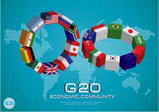 Landesflaggen G20 mit punktierter Weltkarte oder Flaggen der Welt (wirtschaftliche Landesflagge G20) Lizenzfreie Stockfotos