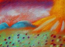 Landet av fred och tystnad - den annan världen - mjuk pastellfärgad krita royaltyfri illustrationer
