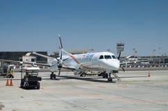 Landet degli aerei delle vie aeree di Tus nell'aeroporto internazionale di Ben Gurion fotografie stock