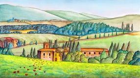Landet landskap royaltyfri illustrationer