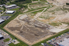 Landfill. Aerial view of operating landfill in summer Stock Photo
