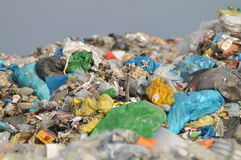 Landfill. Pile of waste and garbage in bags in the landfill Royalty Free Stock Photo
