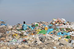 Landfill. Pile of waste and garbage in bags in the landfill Royalty Free Stock Image