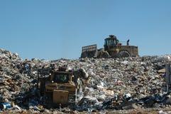 Landfill 2. Dozer and compactor operating at landfill Royalty Free Stock Images