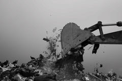 Landfill. Waste disposal at a landfill Royalty Free Stock Photo